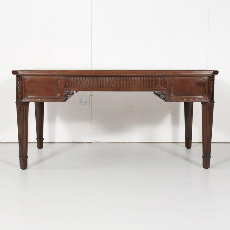 19th Century French Louis XVI Style Walnut Bureau Plat or Desk with Leather Top For Sale 15