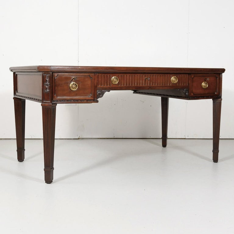 Mid-19th Century 19th Century French Louis XVI Style Walnut Bureau Plat or Desk with Leather Top For Sale
