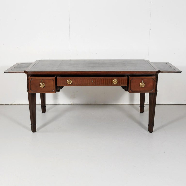 Bronze 19th Century French Louis XVI Style Walnut Bureau Plat or Desk with Leather Top For Sale