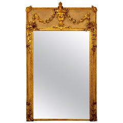 19th Century French Louis XVI Style Water Gilt Mirror