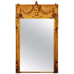 19th Century French Louis XVI Style Water Gilt Mirror