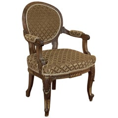 19th Century French Louis XVI Walnut Armchair, Fauteuil