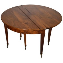 19th Century French Louis XVI Walnut Dining Table with Expanding Stretcher