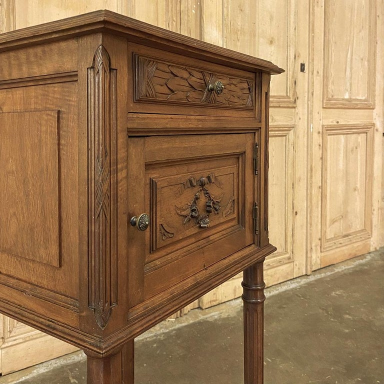 19th Century French Louis XVI Walnut Marble Top Nightstand For Sale 6