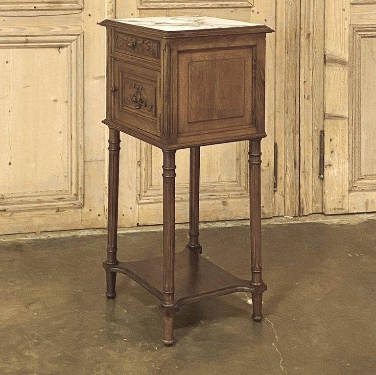 Hand-Crafted 19th Century French Louis XVI Walnut Marble Top Nightstand For Sale