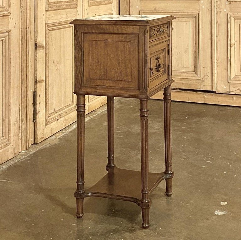 19th Century French Louis XVI Walnut Marble Top Nightstand In Good Condition For Sale In Dallas, TX