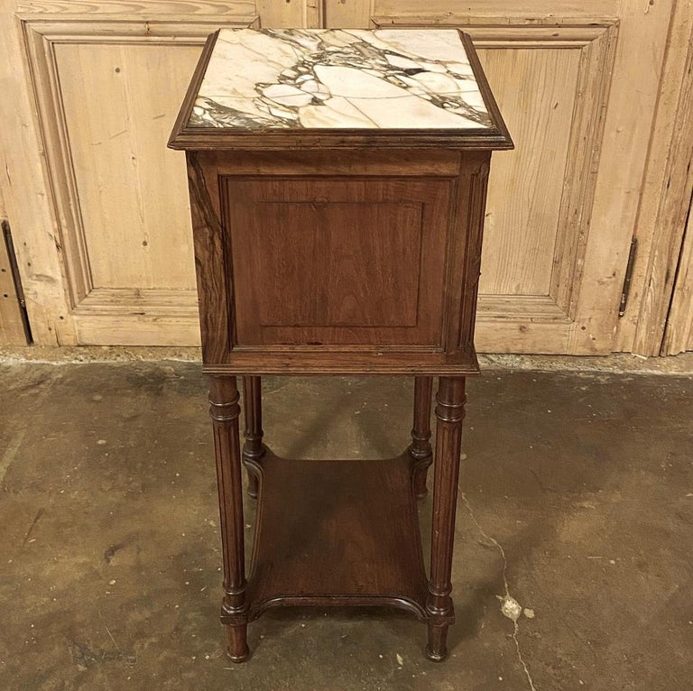 Late 19th Century 19th Century French Louis XVI Walnut Marble Top Nightstand For Sale
