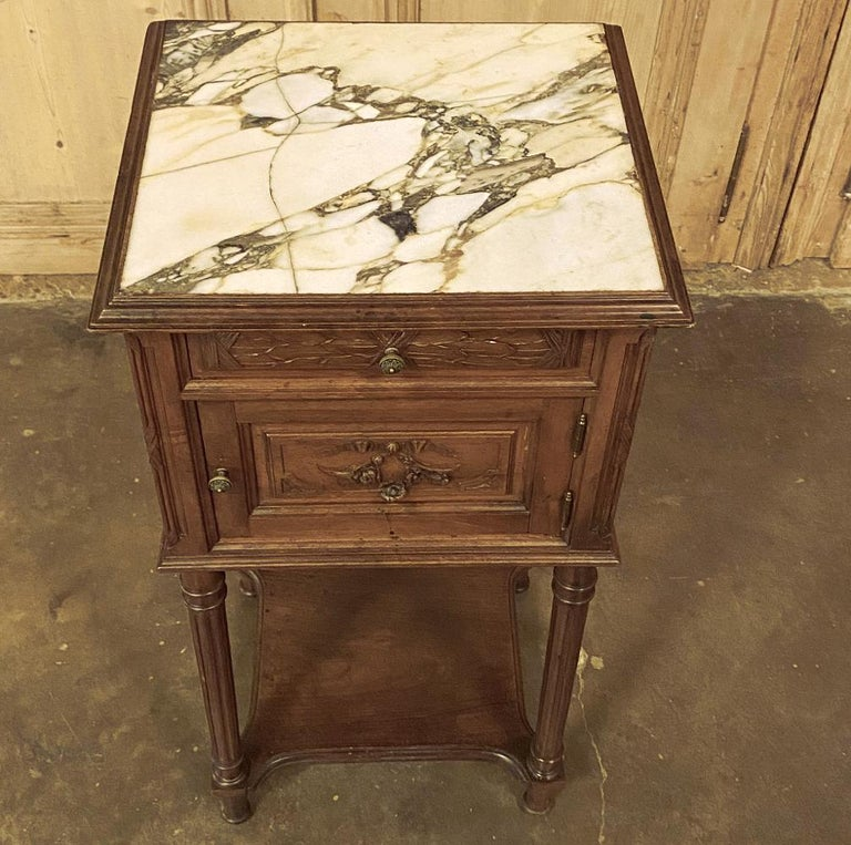 19th Century French Louis XVI Walnut Marble Top Nightstand For Sale 1