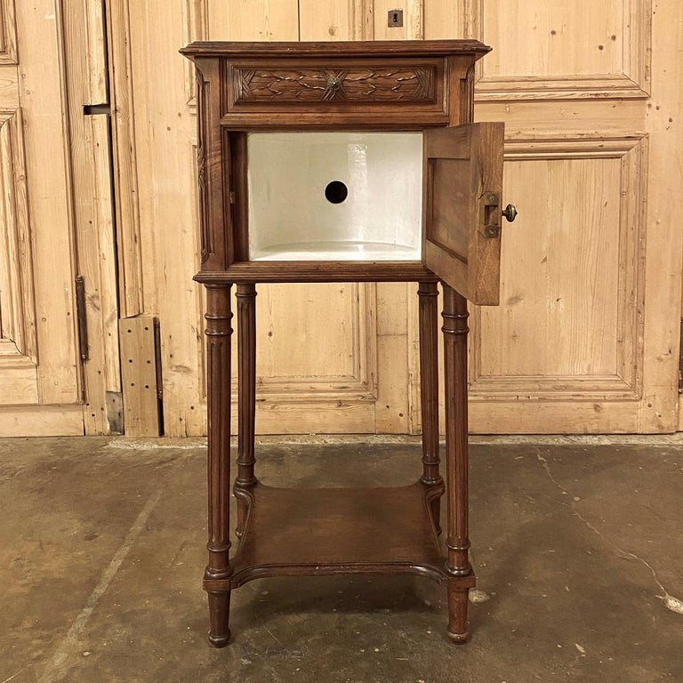 19th Century French Louis XVI Walnut Marble Top Nightstand For Sale 2