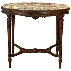 19th Century French Louis XVI Walnut Marble-Top Oval End Table