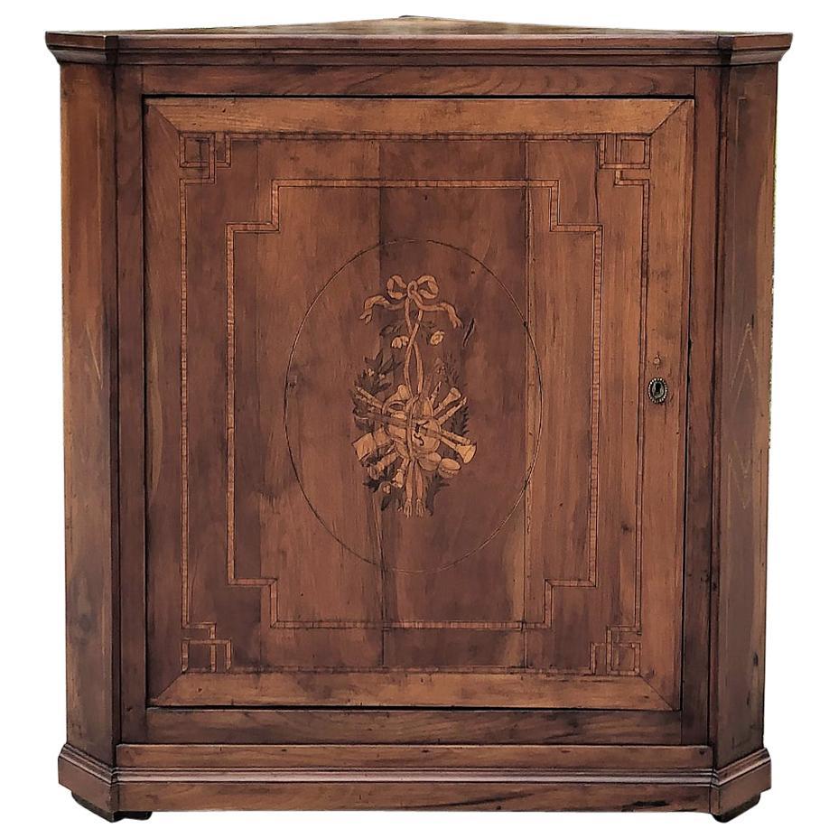 19th Century French Louis XVI Walnut Marquetry Corner Cabinet