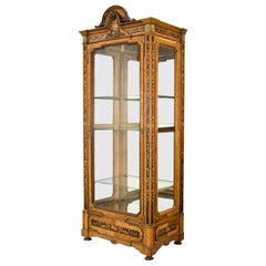 19th Century French Louis XVI Walnut Marquetry Vitrine with Glass Door and Sides