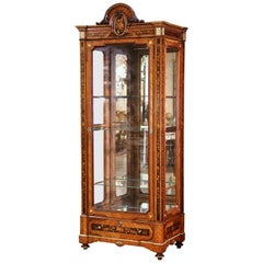 19th Century French Louis XVI Walnut Marquetry Vitrine with Glass Sides and Door
