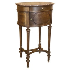 19th Century French Louis XVI Walnut Oval Marble-Top Nightstand