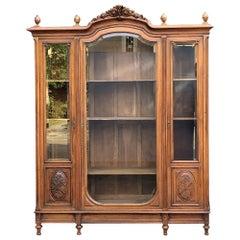 19th Century French Louis XVI Walnut Triple Display Armoire ~ Bookcase