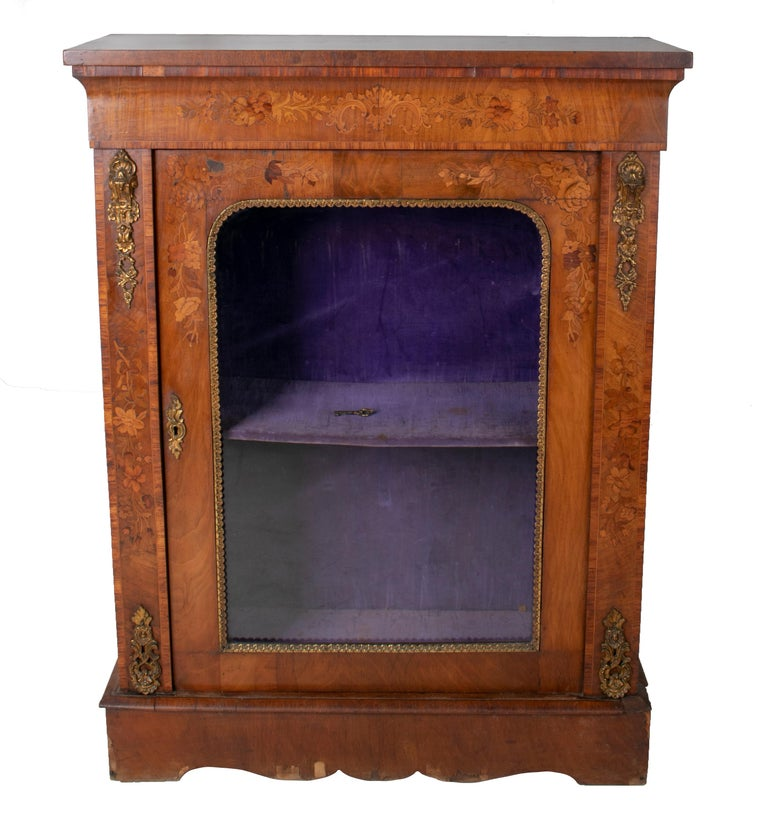 19th century French low wall cabinet with door and bronze fittings.