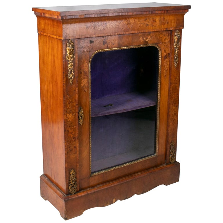 19th Century French Low Wall Cabinet with Door and Bronze Fittings For Sale
