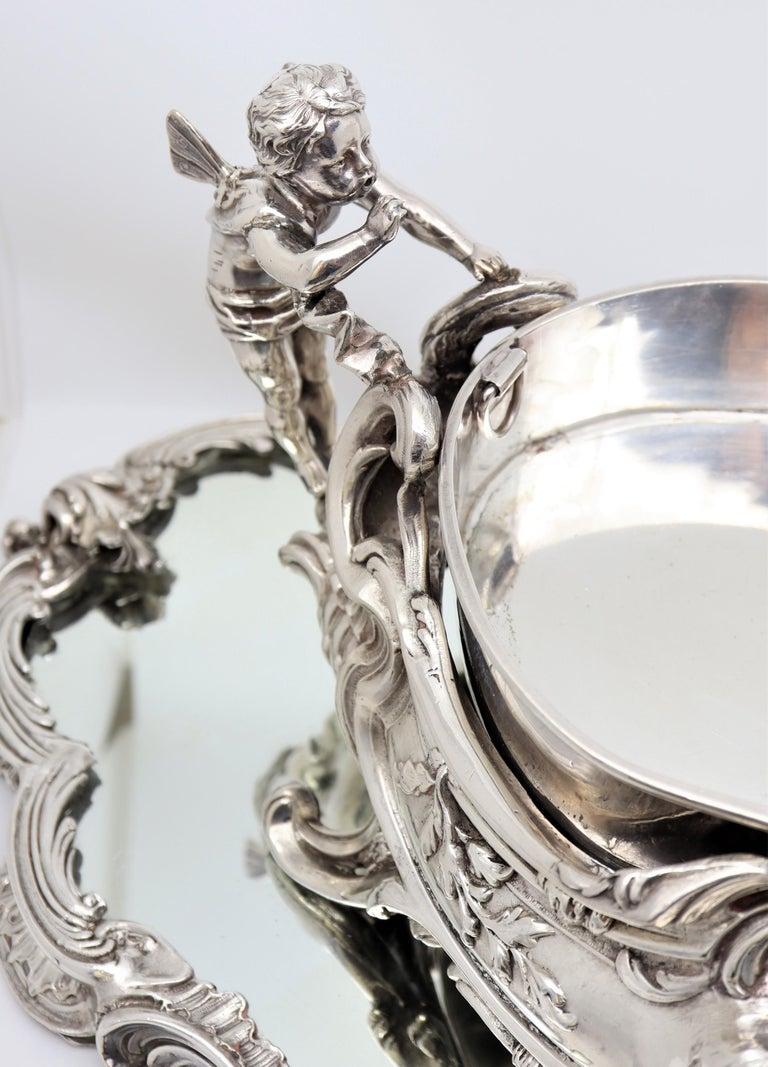 19th Century French, Magnificent Silver Plated Centrepiece with Mirror Base For Sale 1