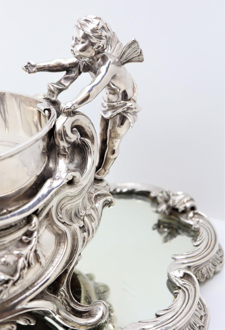19th Century French, Magnificent Silver Plated Centrepiece with Mirror Base For Sale 2