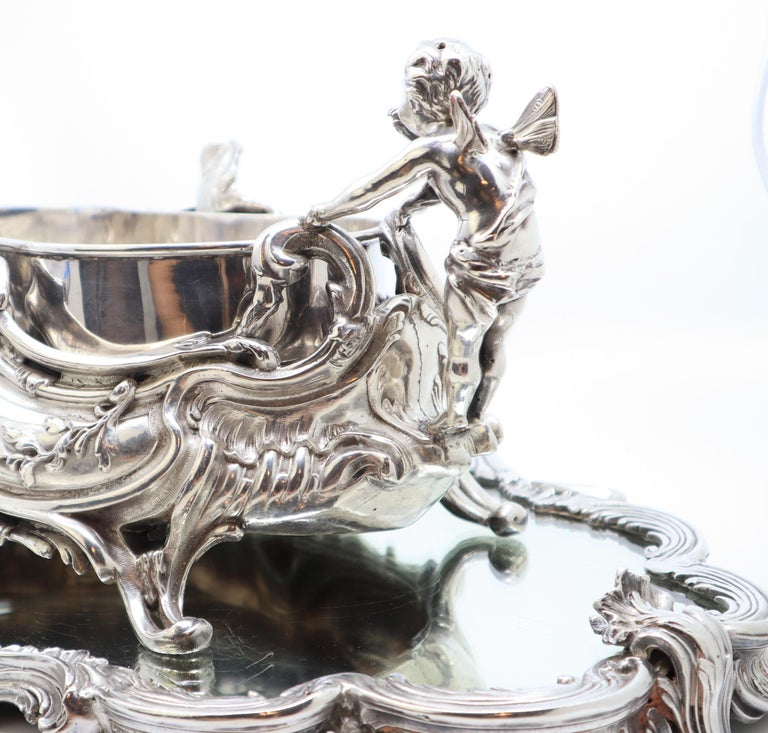 19th Century French, Magnificent Silver Plated Centrepiece with Mirror Base For Sale 3