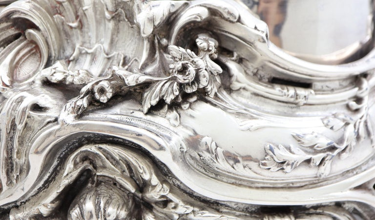 19th Century French, Magnificent Silver Plated Centrepiece with Mirror Base For Sale 5