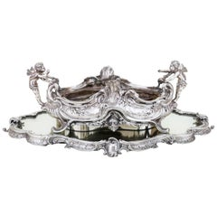 19th Century French, Magnificent Silver Plated Centrepiece with Mirror Base