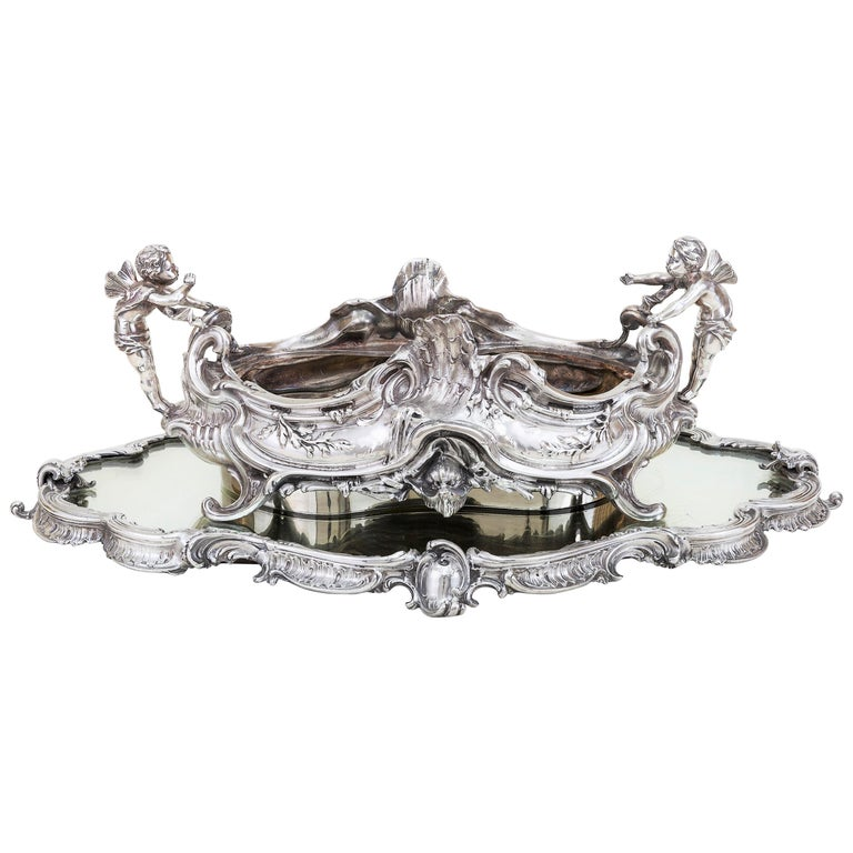 19th Century French, Magnificent Silver Plated Centrepiece with Mirror Base For Sale