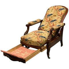 19th Century French Mahogany Adjustable Armchair in Original Tapestry