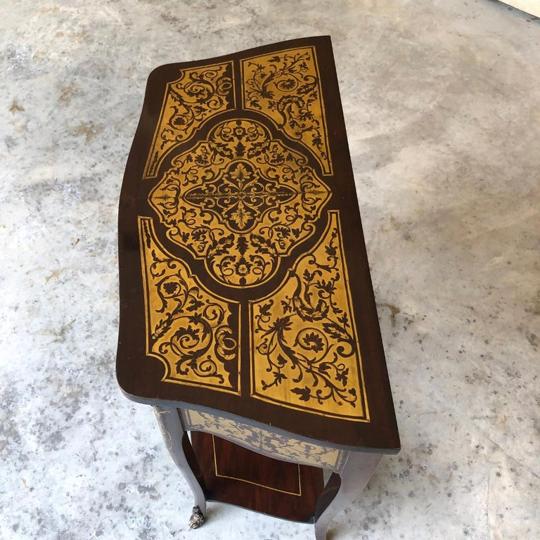 19th Century French Mahogany Console Intricately Inlaid with Brass For Sale 6