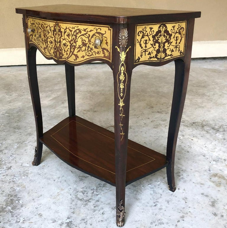 Napoleon III 19th Century French Mahogany Console Intricately Inlaid with Brass For Sale
