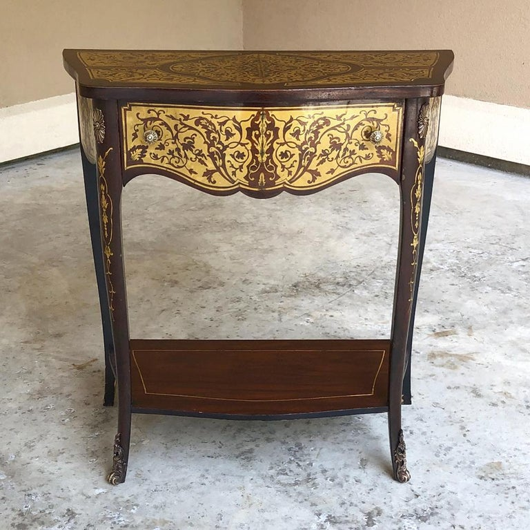 Hand-Crafted 19th Century French Mahogany Console Intricately Inlaid with Brass For Sale