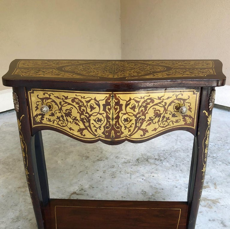 Mid-19th Century 19th Century French Mahogany Console Intricately Inlaid with Brass For Sale