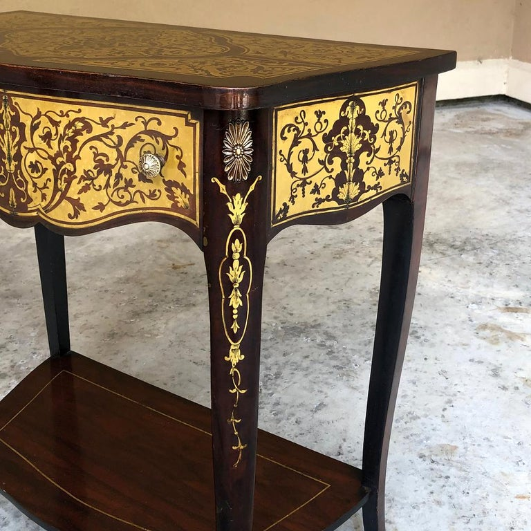 19th Century French Mahogany Console Intricately Inlaid with Brass For Sale 1