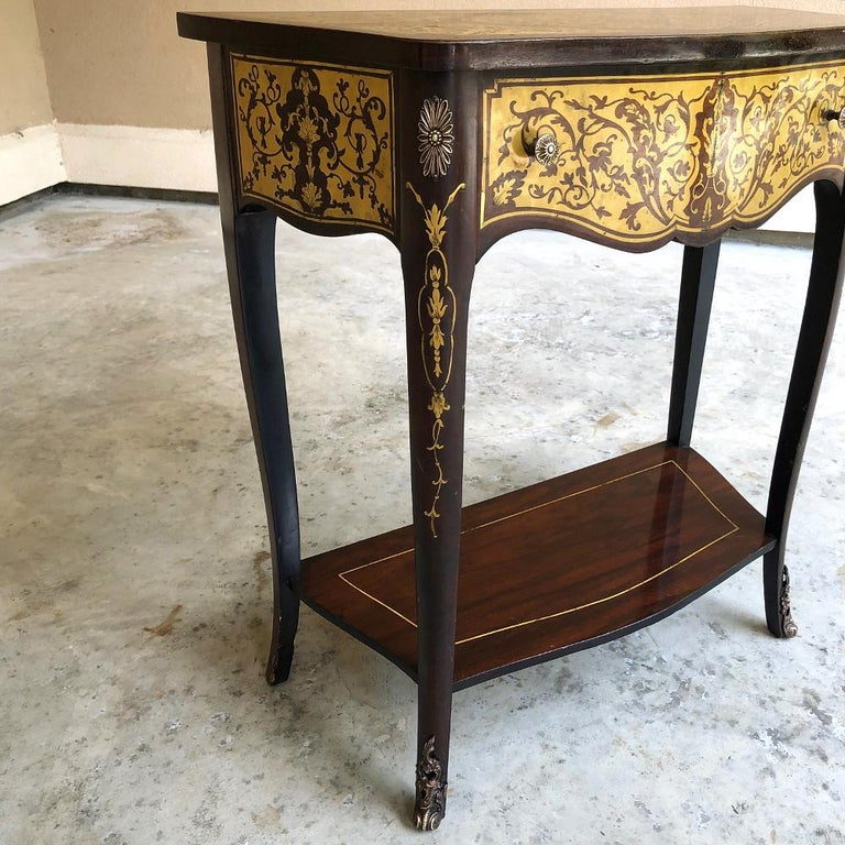 19th Century French Mahogany Console Intricately Inlaid with Brass For Sale 2