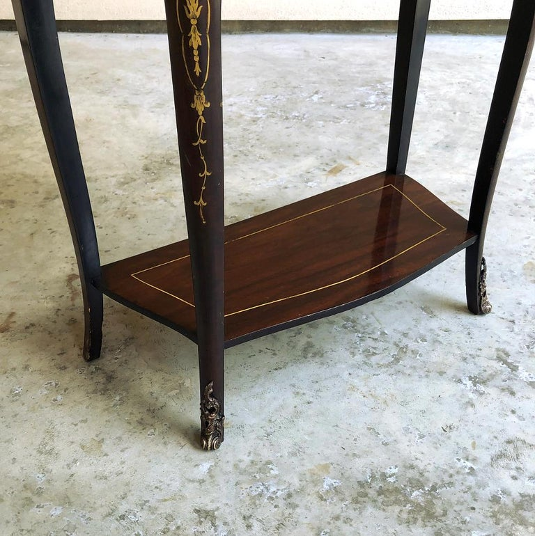 19th Century French Mahogany Console Intricately Inlaid with Brass For Sale 3