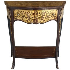 19th Century French Mahogany Console Intricately Inlaid with Brass