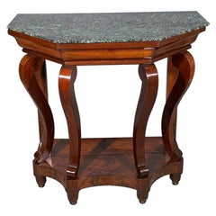19th Century French Mahogany Console Table with Marble Top