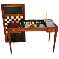 19th Century French Mahogany Tric Trac or Backgammon Table