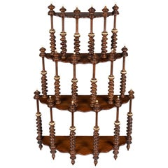 19th Century French Mahogany Turned Spindle Shelf