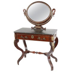 19th Century French Mahogany Vanity Table with Swan's Heads in Empire Style