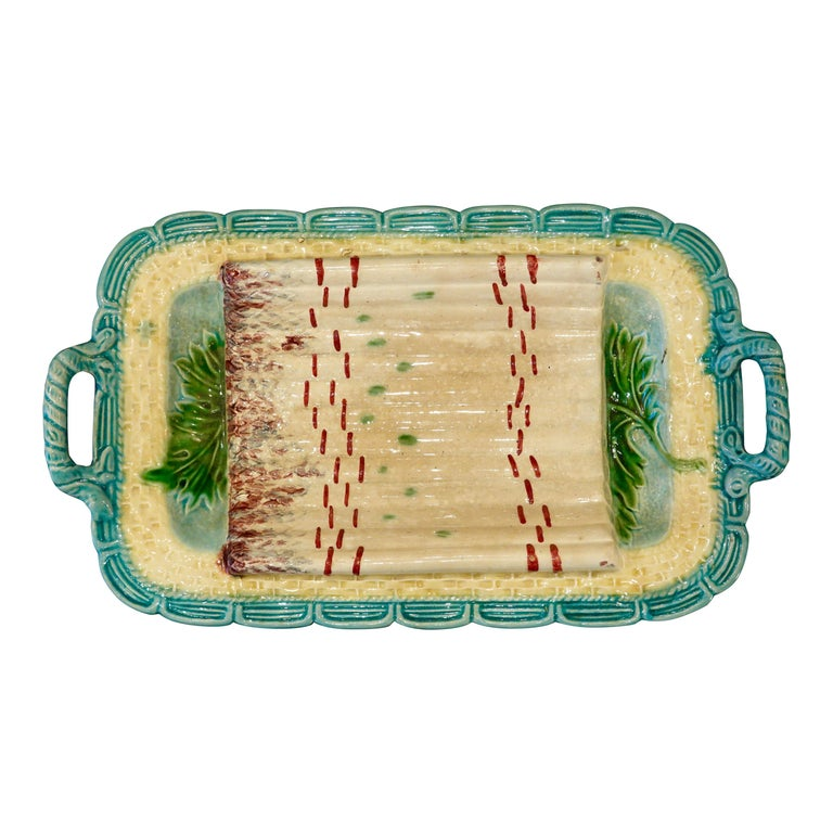 French Majolica asparagus platter, ca. 1880, offered by Trianon Antiques