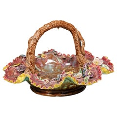 19th Century French Majolica Barbotine Basket with High Relief Floral Décor