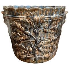 19th century French Majolica Cache Pot Planter Jardinière Acorn, Blue Barbotine