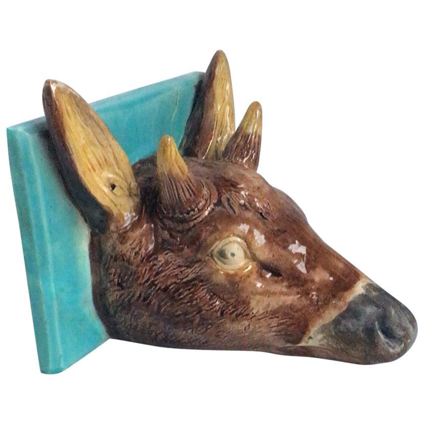 19th Century French Majolica Deer Head Shelf Applique