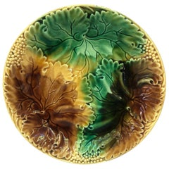19th Century French Majolica Leaves Plate