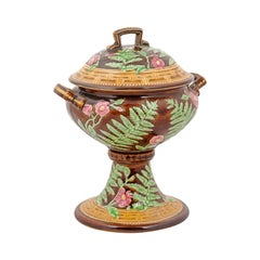 19th Century French Majolica Lidded Vase with Foliage, Flowers and Greek Key