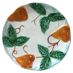 19th Century French Majolica Pear Plate