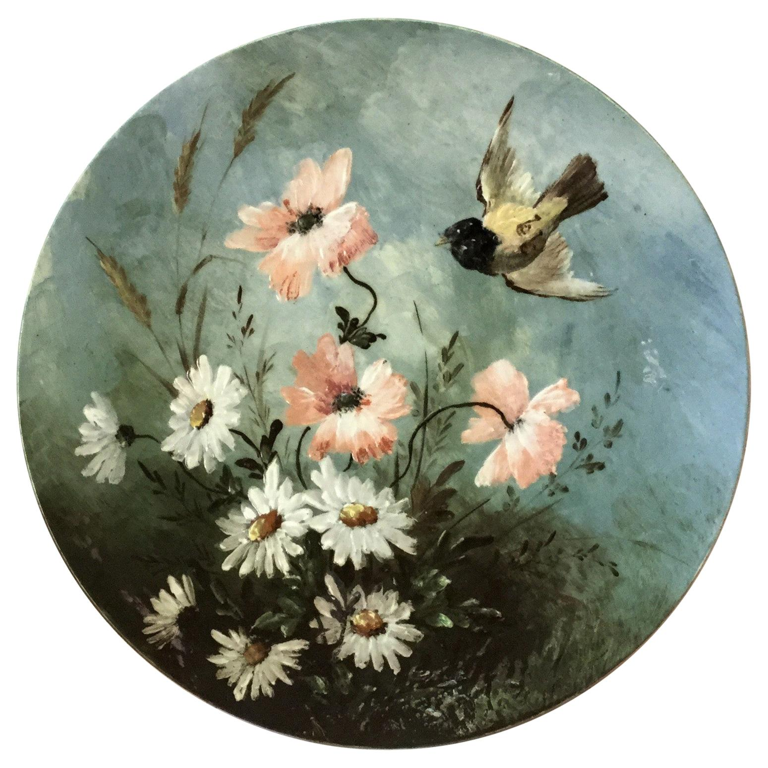 19th Century French Majolica Platter Bird and Flowers Longwy