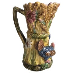 19th Century French Majolica Rooster and Hen Pitcher