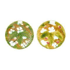 19th Century French Majolica Strawberry Plates with Floral and Foliage Decor